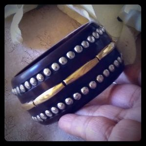 Vintage Wooden Bangle w/Brass & Silver Accents